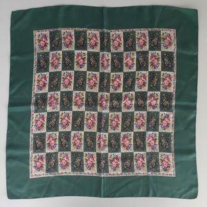 Vintage Liberty of London silk scarf (green/pink)